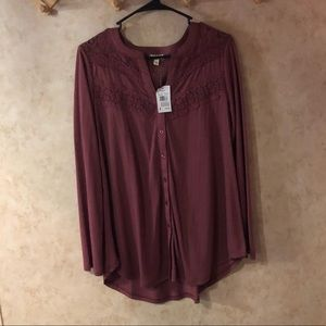 Burgundy long sleeve Blouse from Vanity